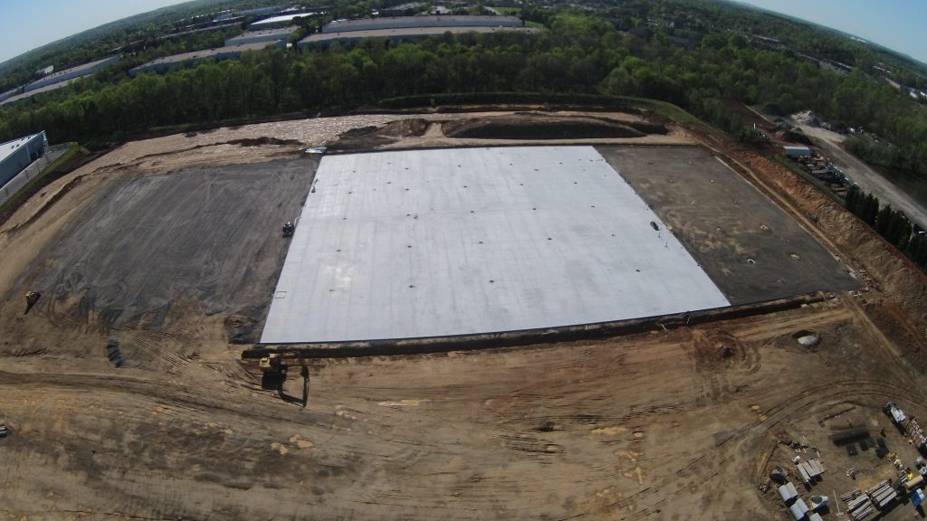 Drone view of the Ridge Creek construction project by Eldridge Concrete